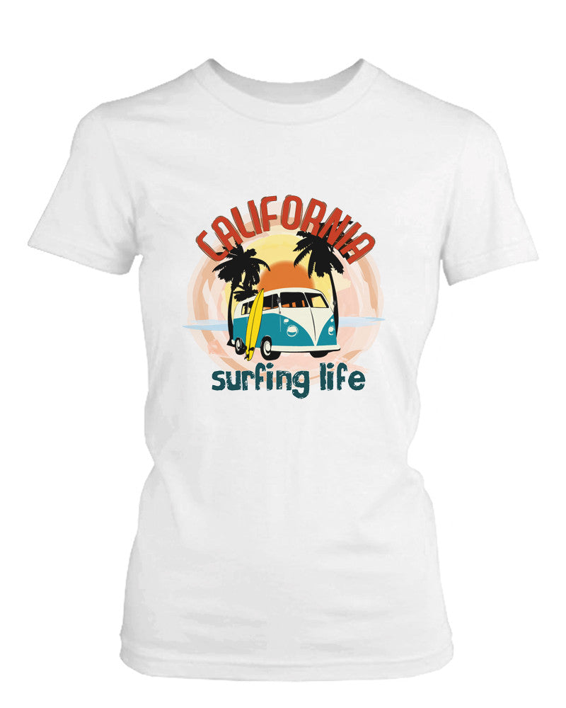 California Surfing Life Graphic Women's T-shirt Sunset Palm Tree Mini Van Tee