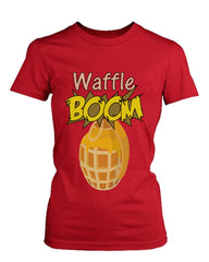 Grenade Waffle Boom Women's Graphic Shirt in Red Humorous Tee Funny ladies Ts...