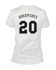 Good Vibes 20 Back Print Women's T Shirt Trendy Typographic Whit...