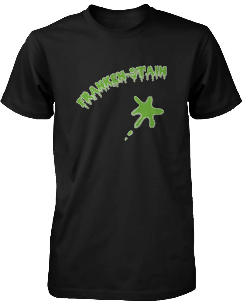 Franken-stain Halloween Men's Shirt Funny Graphic Black Tee for Horror Night