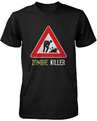 Zombie Killer Warning Sign Men's Tshirt Funny Horror Halloween B...