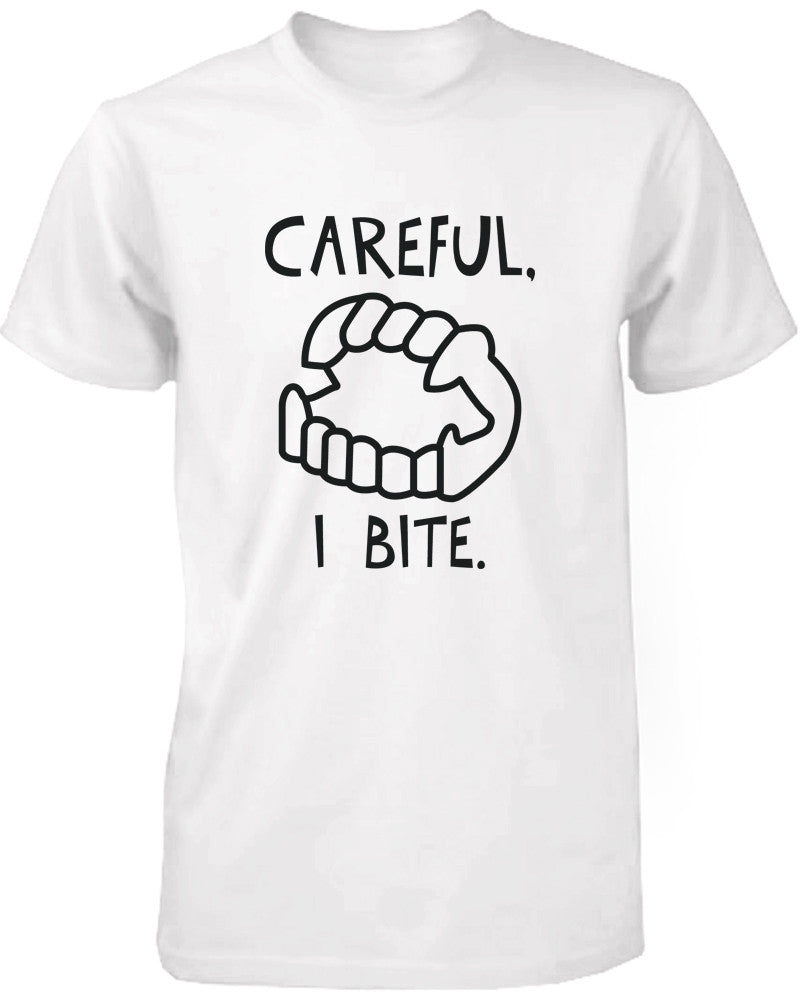 Careful I Bite Funny Men's Tshirt White Crewneck Graphic Tee for Halloween