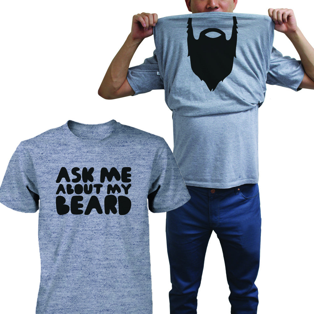 Ask Me About My Beard Shirt Funny Flip Up T-shirts Halloween Graphic Unisex Tee