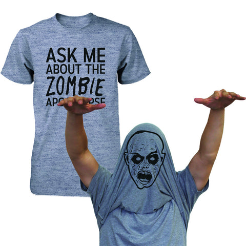 Ask Me About The Zombie Apocalypse Shirt Funny Flip Up Tee Halloween T-shirt