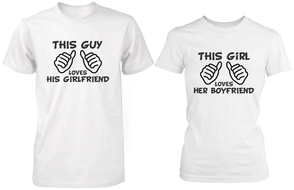 Funny Boyfriend and Girlfriend Matching Couple Shirts in White Cotton T-shirts