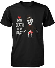 Cute Couple Shirts for Halloween Skeleton Bride and Groom