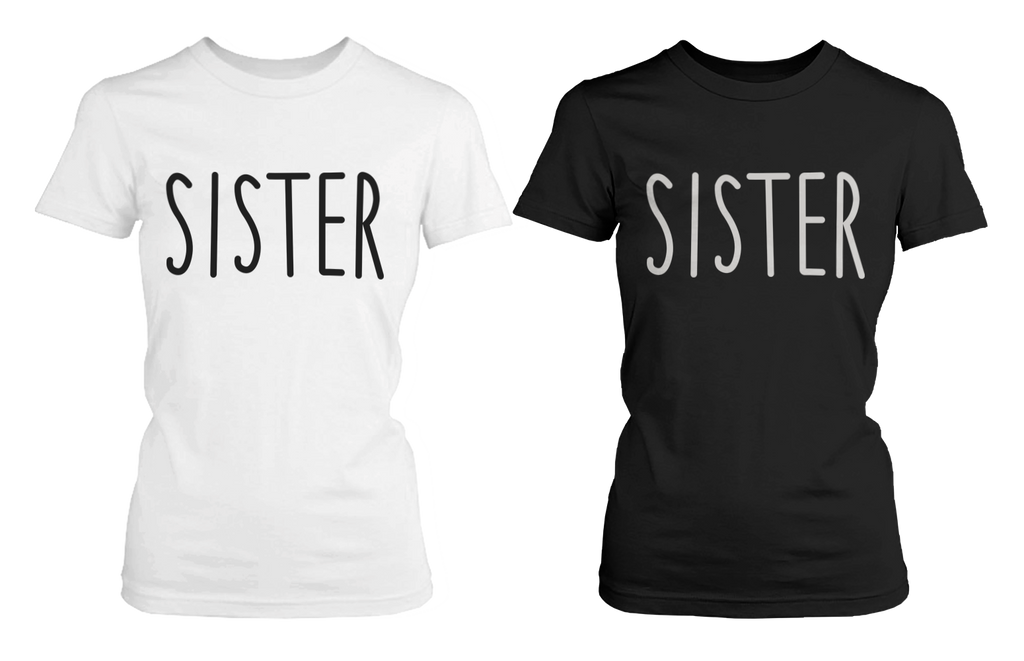 sisters matching black and white tshirts