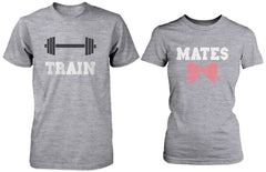 Cute Couple Workout T-Shirts – Train Mates Matching Grey Shirts for Couples