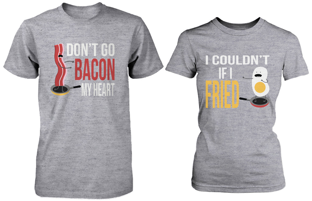 Cute Matching Couple Shirts – Bacon and Egg Grey Cotton Graphic T-shirts