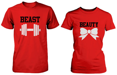 Beauty and the Beast Cute His and Her Matching Red T-Shirts for Couples
