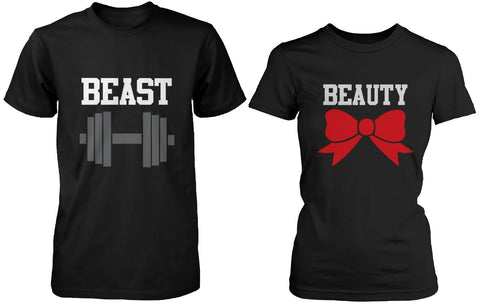 Beauty and the Beast Cute His and Her Matching Black T-Shirts for Couples