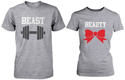 Matching Couple Shirts – Beauty and Beast Grey Cotton Graphic T-shirts