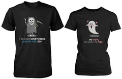 Halloween Matching Couple Shirts Cute Skeleton and Ghost Couples