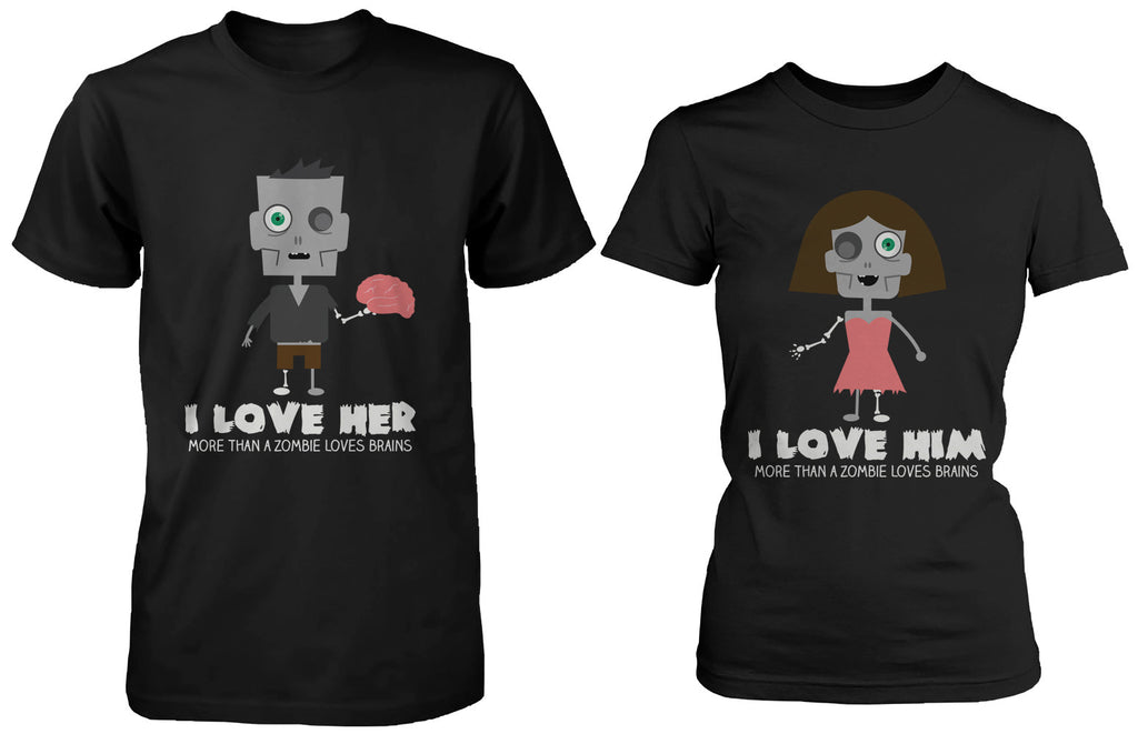 Cute Halloween Couple Shirts I Love You More Than a Zombie Loves Brains