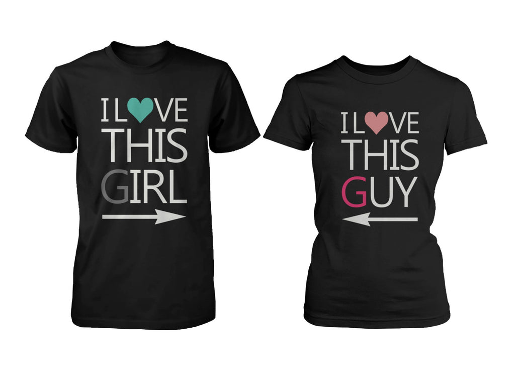 Cute His and Hers Matching Couple T-Shirts I Love This Guy and Girl