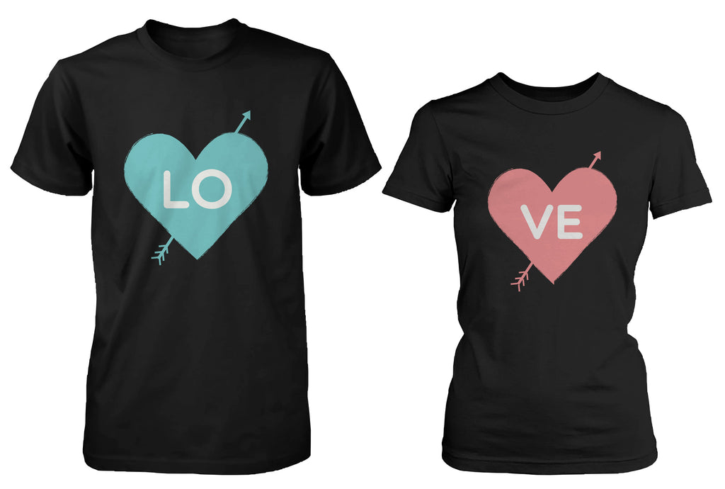 Cute Love Struck Matching Couple Shirts Black Cotton T-shirts for Couples