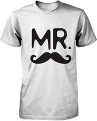 Mustache and Lip White Cotton Matching Couple T-shirts for Mr and Mrs