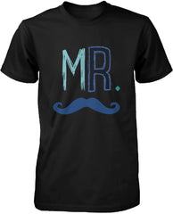 Mustache and Lip Black Cotton Matching Couple T-shirts for Mr and Mrs