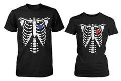 Skeleton X-Ray Hearts Matching T-Shirts for Couples Halloween Horror Shirts