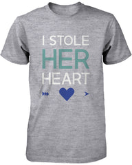 Romantic Couple Shirts – Stealing Hearts Matching Grey Graphic Tees for Couples