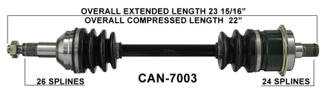 2006-2014 Can-Am Outlander 1000EFI 500EFI 800R 400 500 650 Renegade 1000 800r rear left CV axle shaft TrakMotive Can-7003