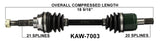1997-2002  Kawasaki KVF400 Prairie Front right left CV axle shaft TrakMotive KAW-7003