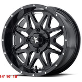 "MSA M26 Vibe Gloss Black Milled & Dark Tint 14"" 16"" 18""  Wheel ATV/UTV"