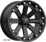 "MSA Satin Black M20 Kore 14' 16"" Wheel ATV/UTV"