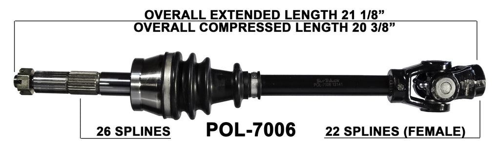 POLARIS SPORTSMAN 500 HO RSE 2001-2002 COMPLETE FRONT CV AXLE LEFT RIGHT 7006
