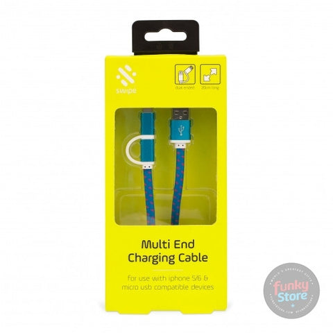 Dual USB Charging Cable - 20cm Long