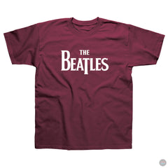 The Beatles - Logo - Burgundy T-Shirt