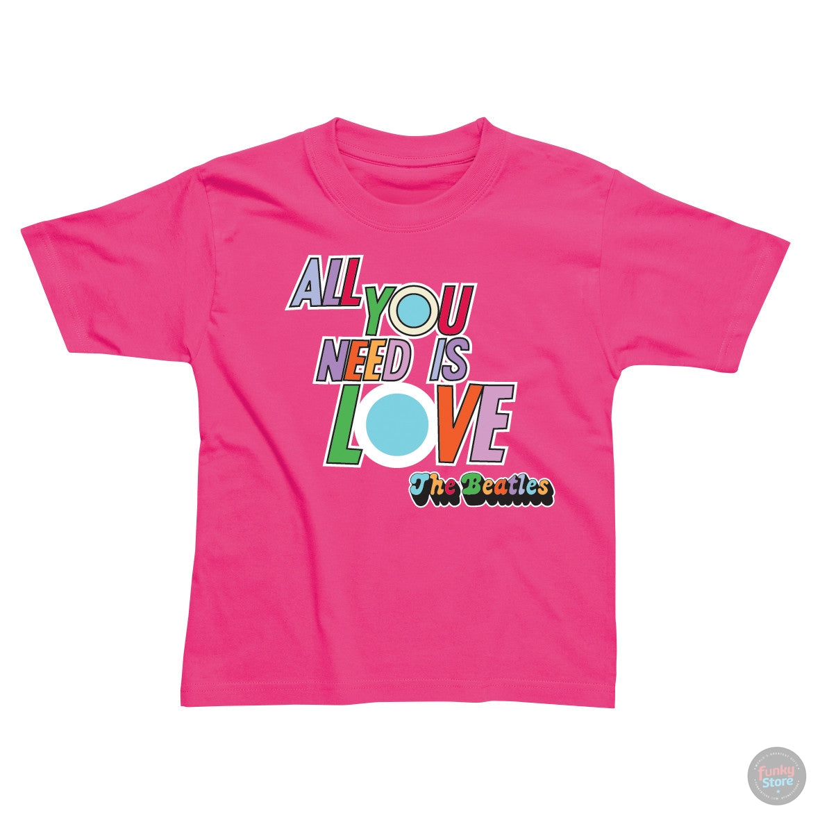 2d71c91fa The Beatles - All You Need is Love - Cerise Pink T-Shirt – Funky Store