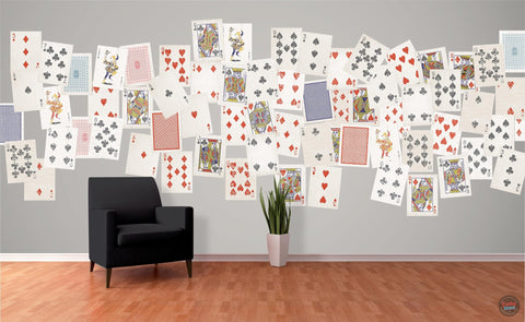 PLAYING CARDS CREATIVE COLLAGE WALLPAPER 64 PIECES