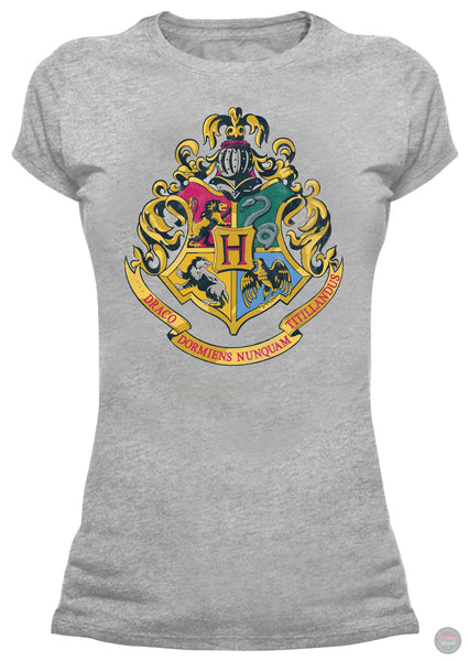 Hogwarts Crest - Harry Potter - Ladies Grey T-Shirt