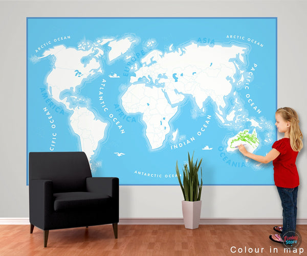 COLOUR IN WORLD MAP WALL MURAL