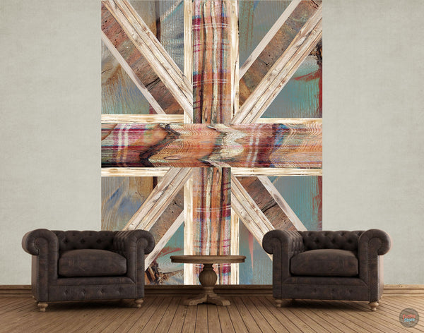 SHABBY CHIC UNION JACK WALL MURAL