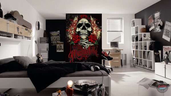 MIAMI INK RED TATTOO SKULL WALL MURAL
