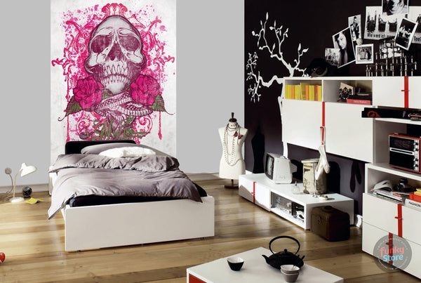 MIAMI INK PINK TATTOO SKULL WALL MURAL
