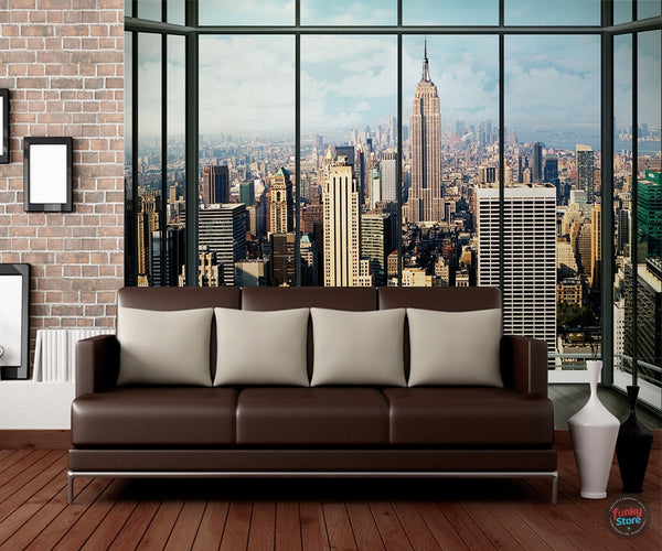 NEW YORK SKYLINE WINDOW WALL MURAL