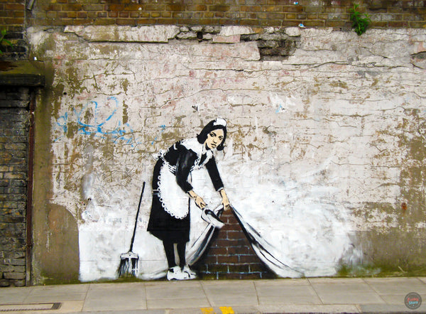 BANKSY MAID GRAFFITI WALL MURAL