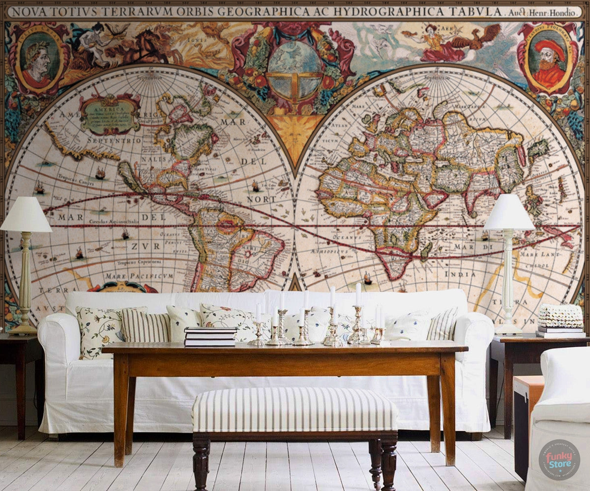 Antique world map wall mural funky store antique world map wall mural amipublicfo Gallery