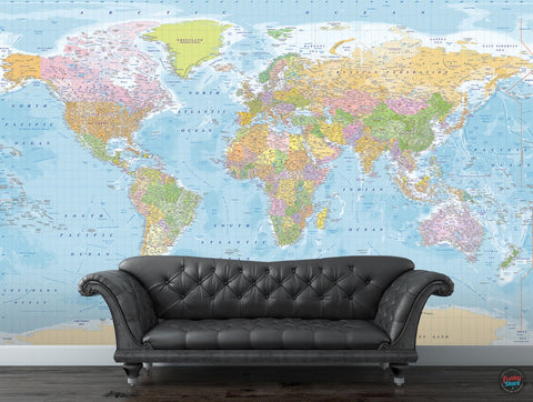 COLOUR POLITICAL WORLD MAP ATLAS WALL MURAL
