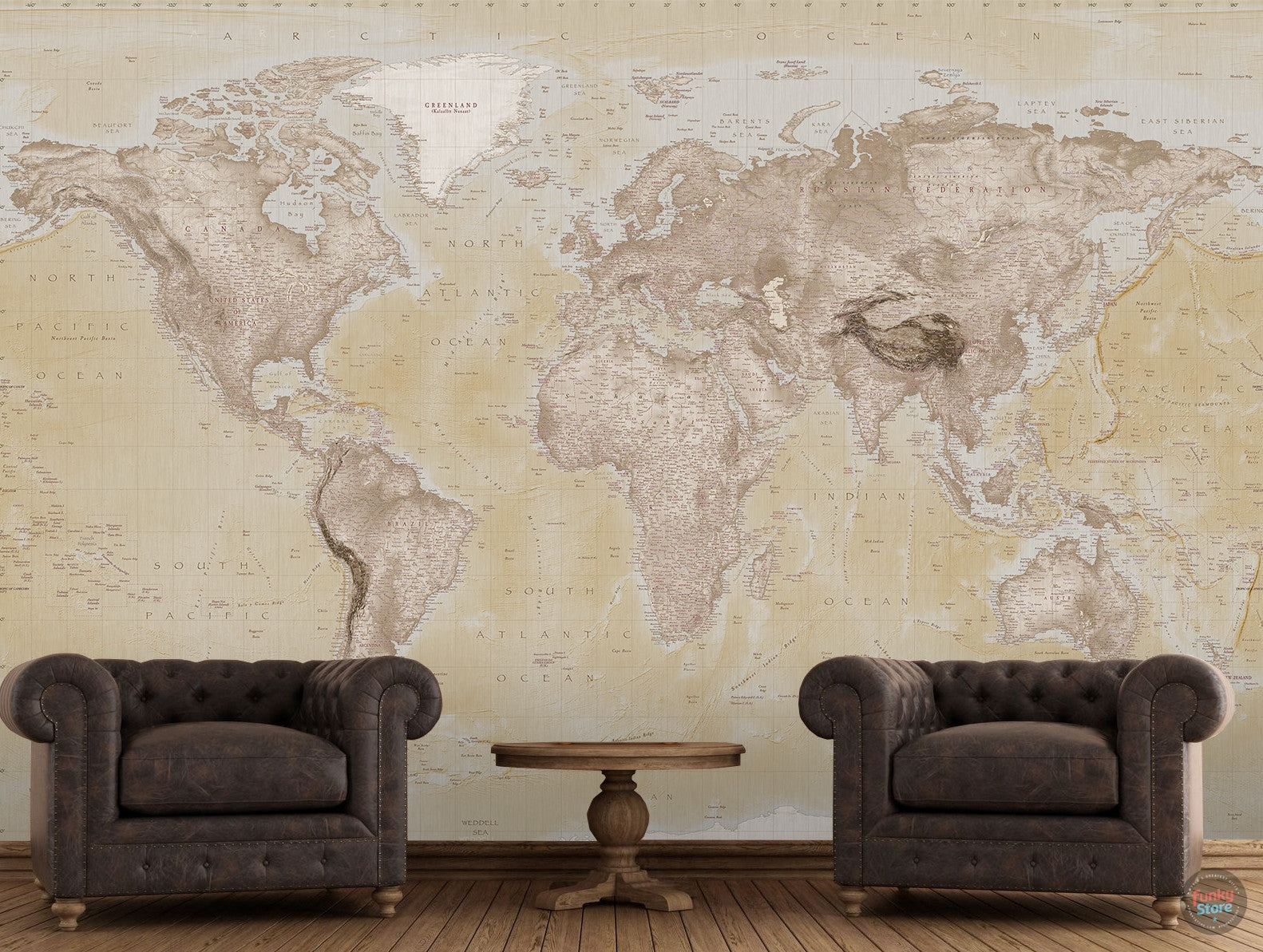 Neutral world map atlas wall mural funky store neutral world map atlas wall mural amipublicfo Gallery