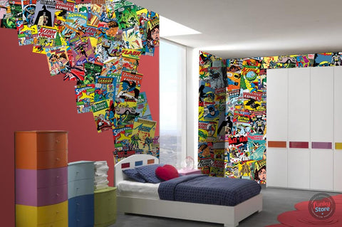 DC COMICS CREATIVE COLLAGE WALLPAPER 64 PIECES