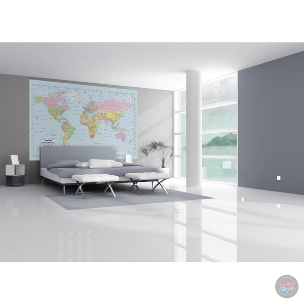 POLITICAL WORLD MAP WALL MURAL