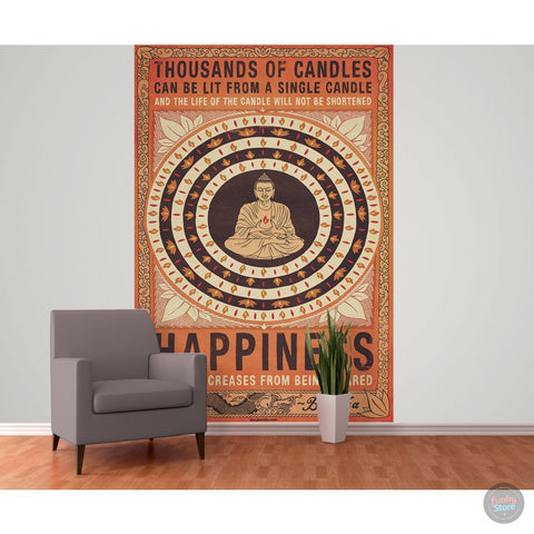 THOUSAND OF CANDLES BUDDHA WALL MURAL