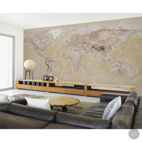 NEUTRAL WORLD MAP ATLAS WALL MURAL
