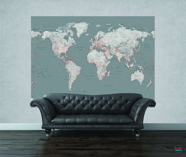 SILVER WORLD MAP WALL MURAL