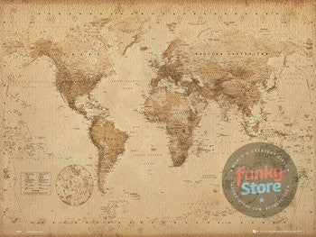Antique Style World Map Mini Poster