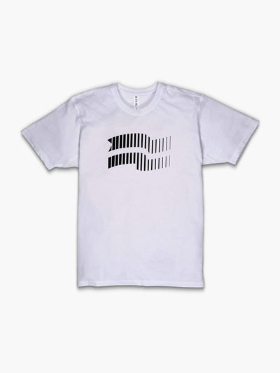 STRIKE MVMNT Men's Timeless Vented T-Shirt with Velocity flag print in Classic White and Black front view